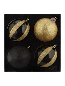 Pack of 4 glitter stripe baubles