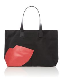 Larysa black lips tote bag