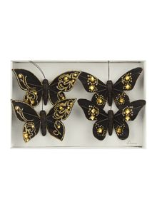 Pack of 4 black and gold butterflies