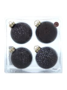 Pack of 4 black sequin baubles