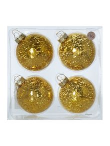 Pack of 4 gold sequin baubles