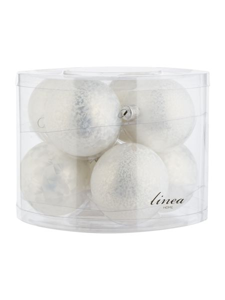 Linea Pack of 8 white glass ice lacquer baubles