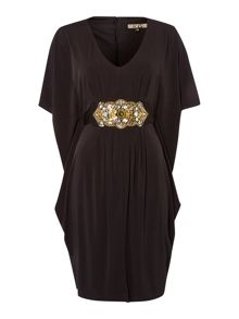 Embellished waist drape jersey dress