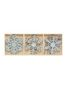 Pack of 9 white glitter wooden snowflakes