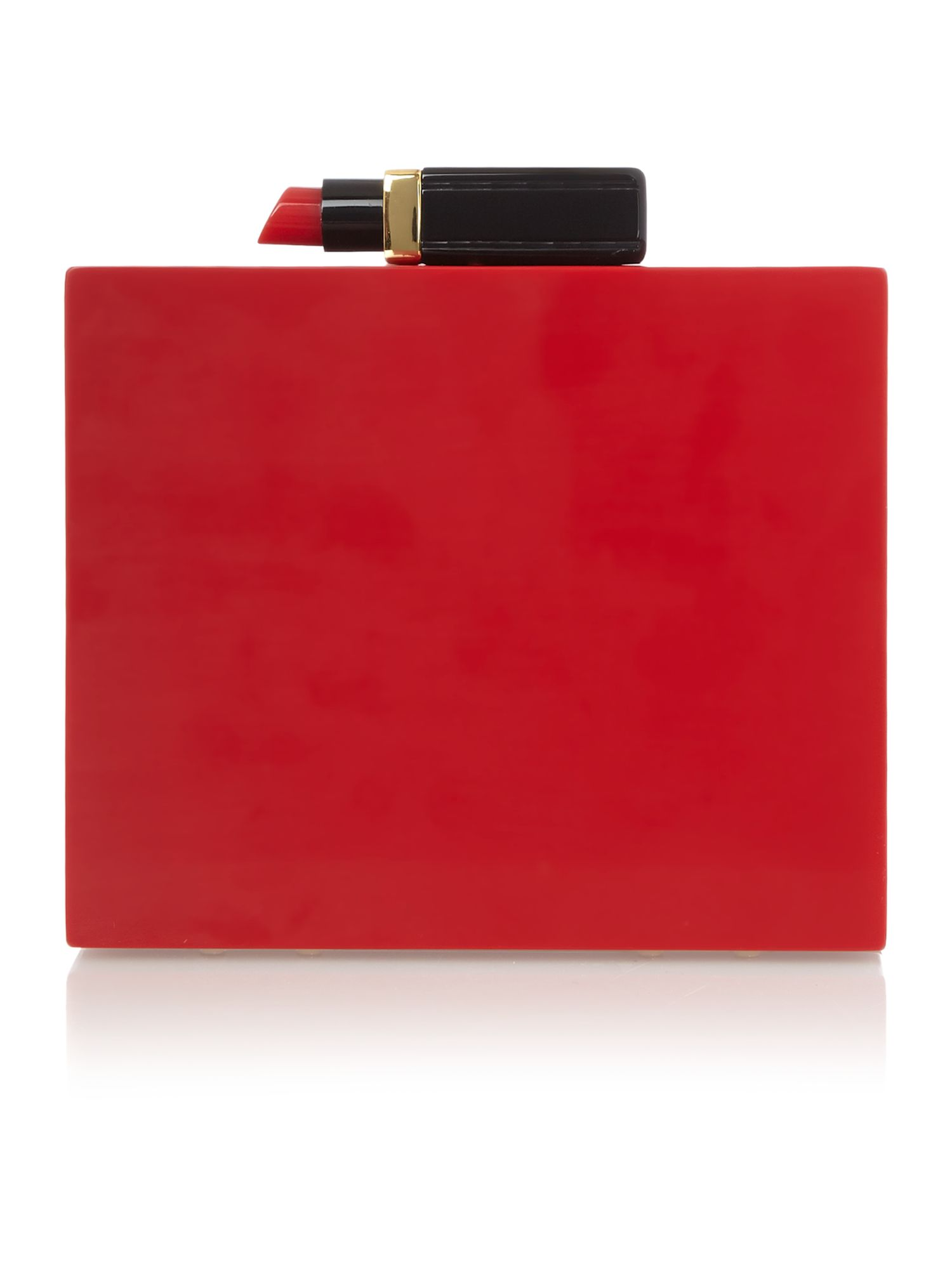 Chloe red perspex lip clutch bag