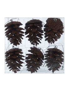Pack of 6 brown glitter pinecones
