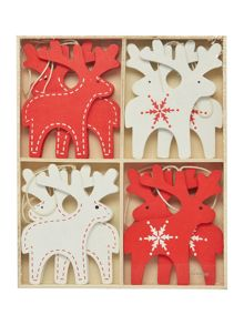 Pk of 12 red & white wooden reindeer decorations