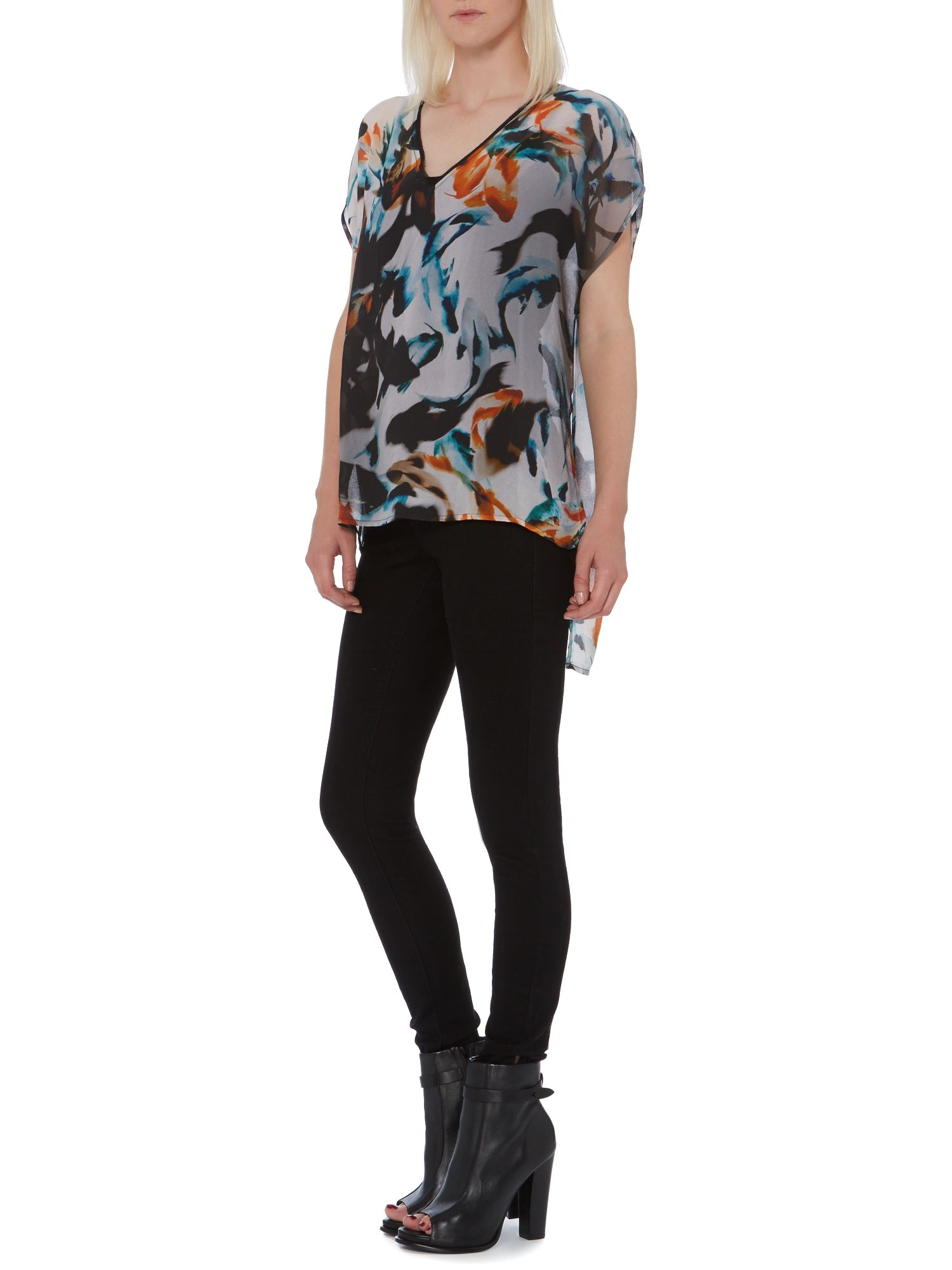 Fish print split back blouse