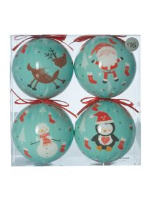 Pack of 4 decoupage character baubles