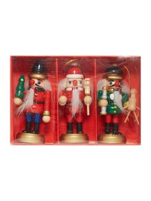 Pack of 3 mini Nutcracker decorations