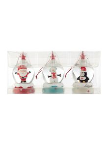 Pack of 3 mini character snow globes