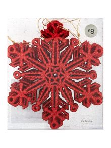 Pack of 4 red glitter snowflake