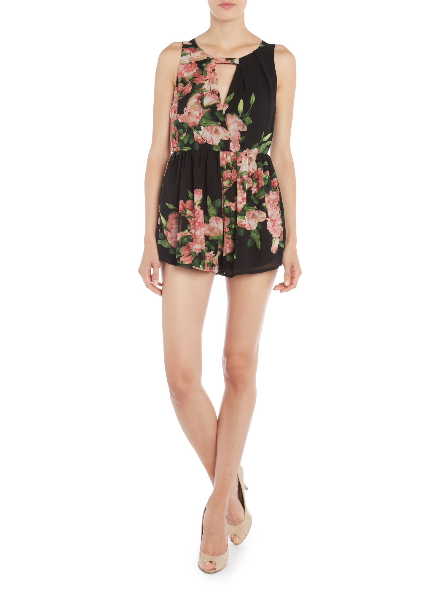 Cut Out Front Floral Print Dress