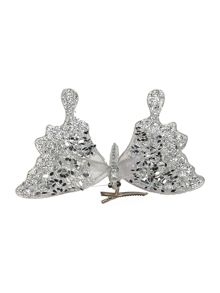 Silver sequin butterfly clip decoration