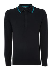 Knitted long sleeve polo shirt