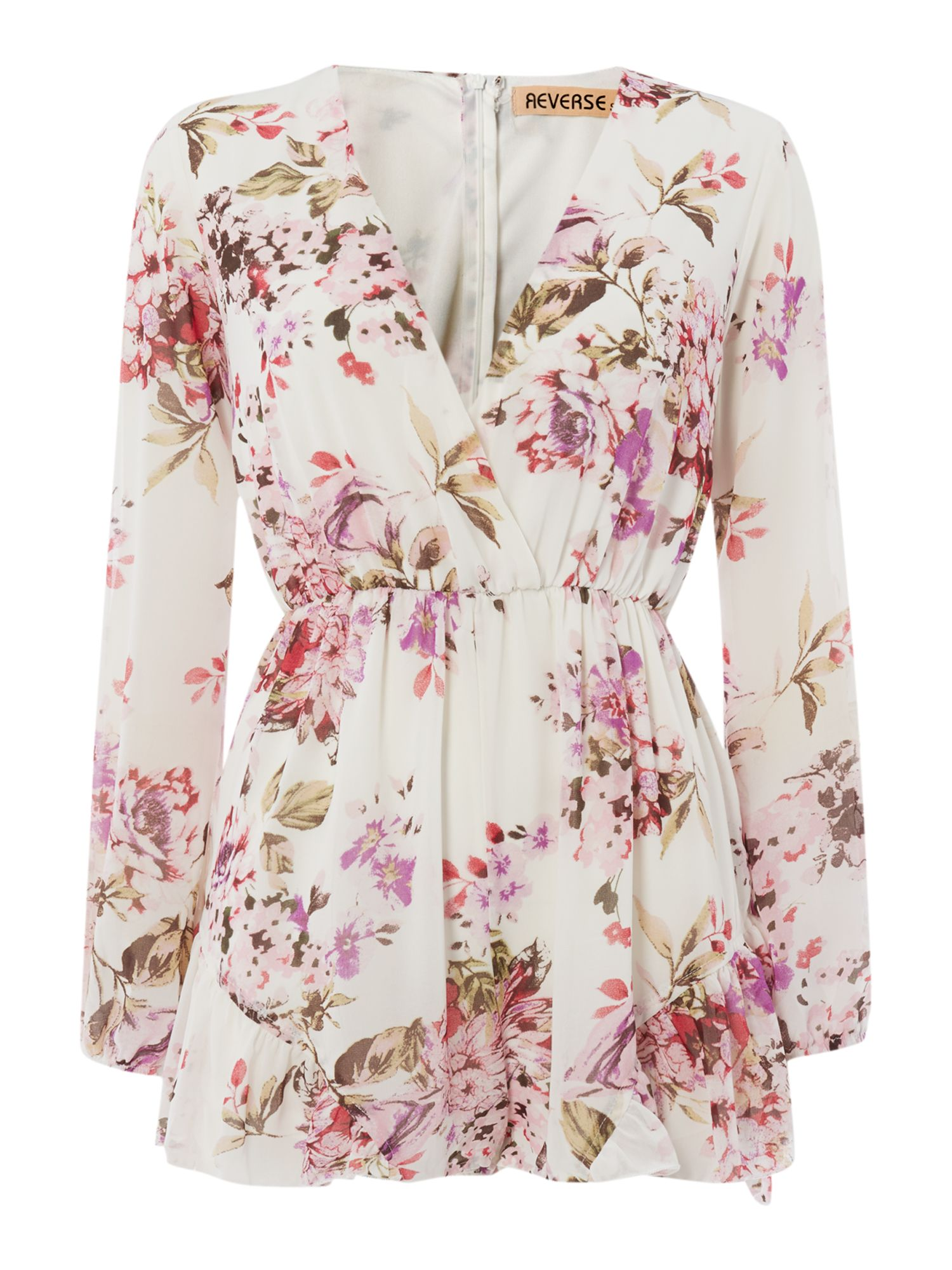 Long Sleeve V Neck Floral Print Dress
