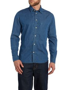 Denim Panel Long Sleeve Shirt