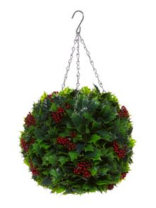Hanging green topiary ball with light