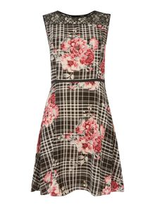 Print & lace yoke sleeveless dress