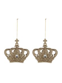 Set of 2 vintage crown decorations