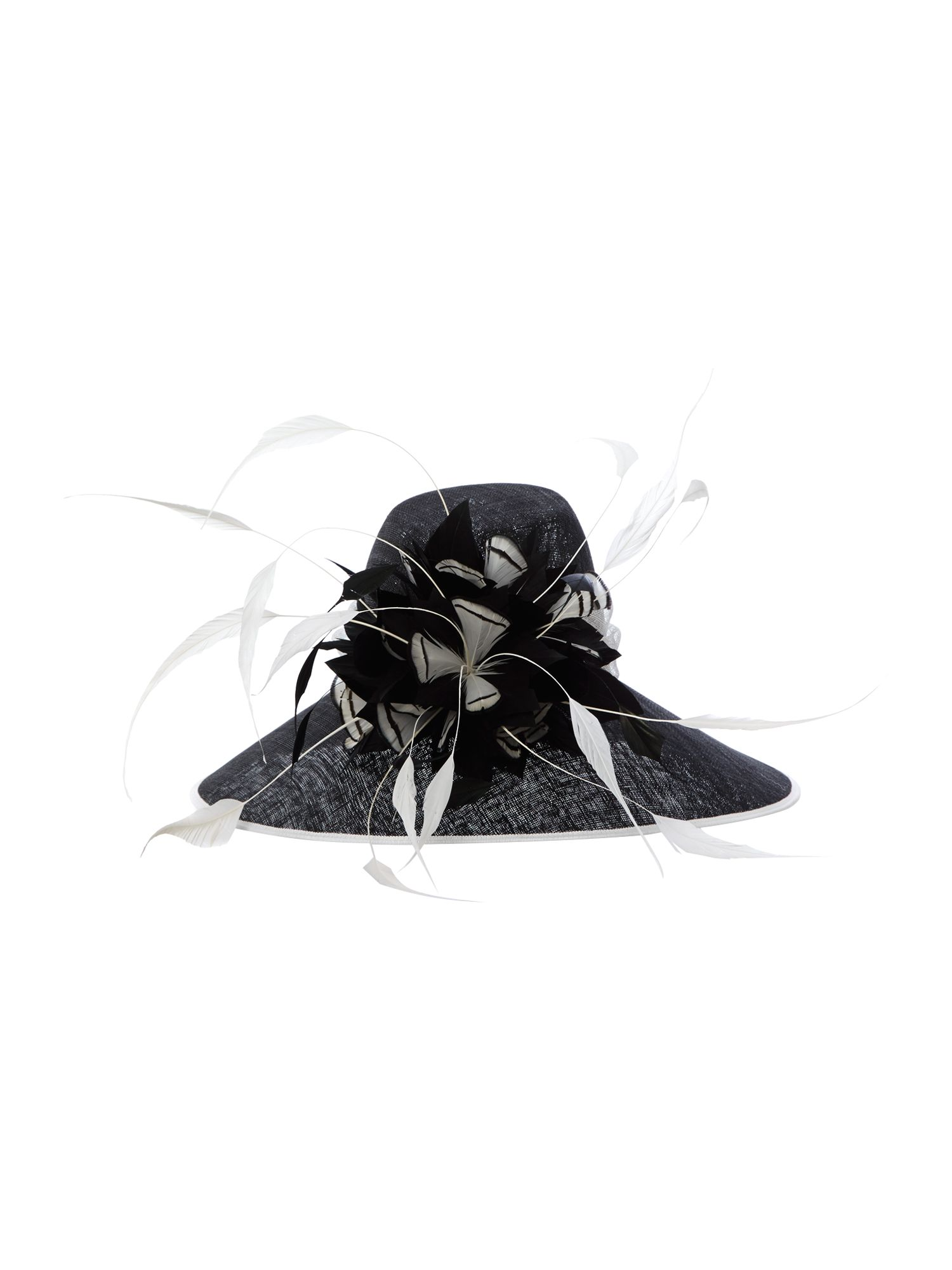 Oversized feather flower wide brim hat
