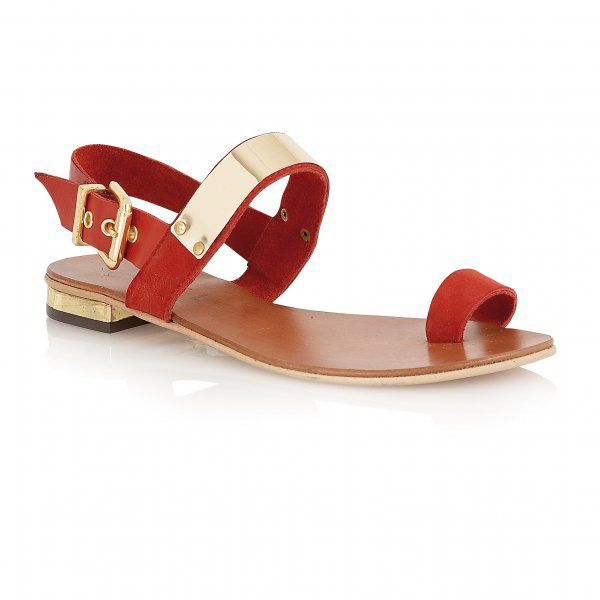 Aster suede open toe flat buckle sandals