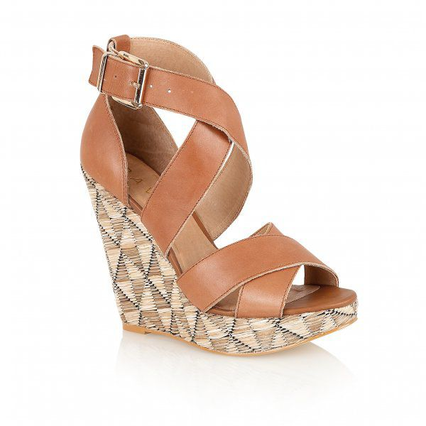 Kennedia leather peep toe wedge buckle sandals