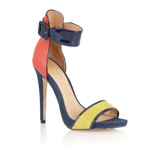Pansy suede open toe stilleto buckle shoes