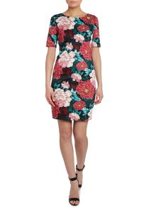 Jolie Moi 50`s floral print prom dress