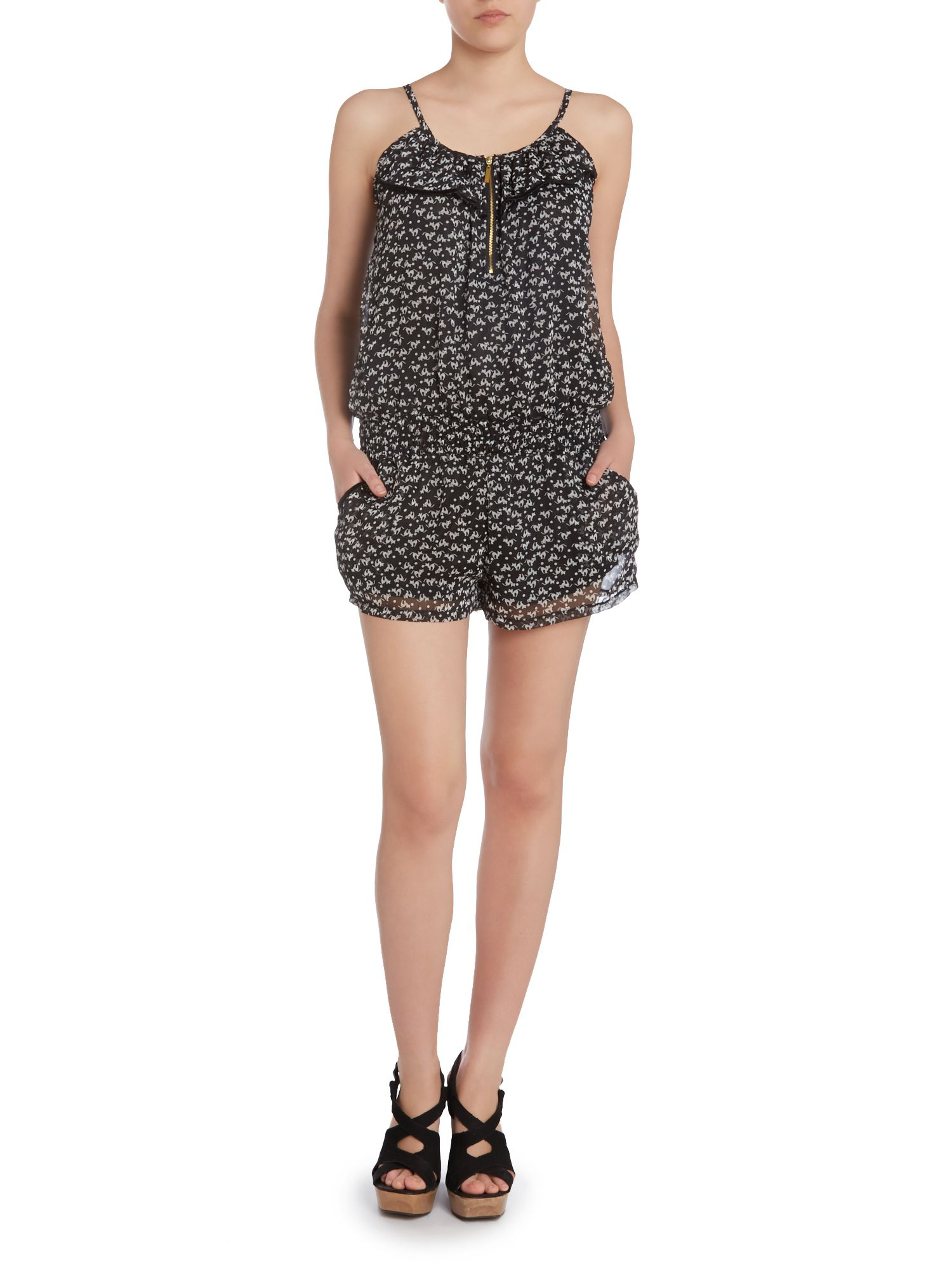Zip front cat print playsuit