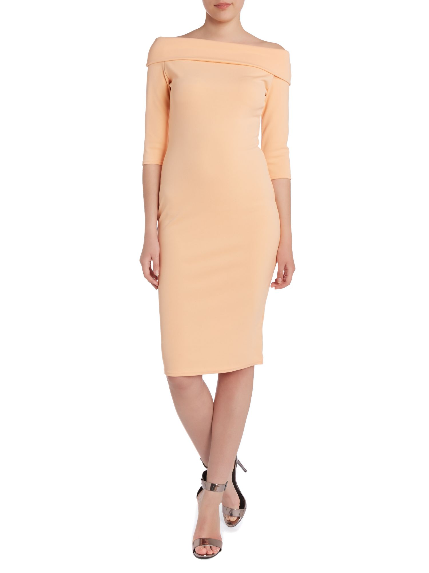 3/4 length sleeve bardot dress