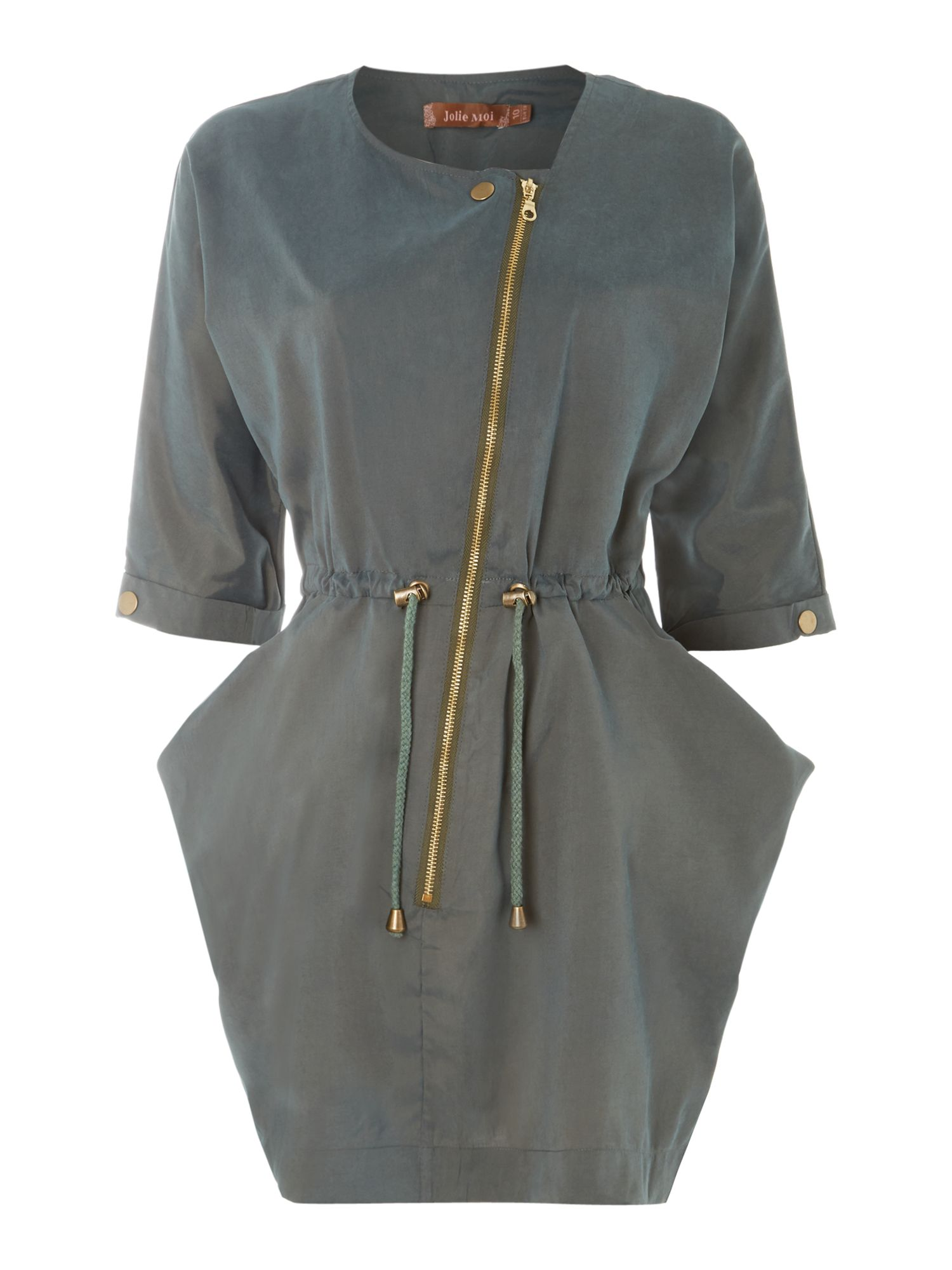 Asymmetric zip front tunic