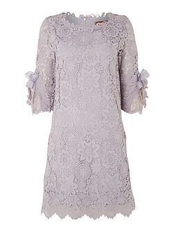 3/4 sleeve crocheted lace tunic