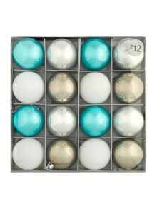 Pack of 16 silver and blue shatterproof baubles