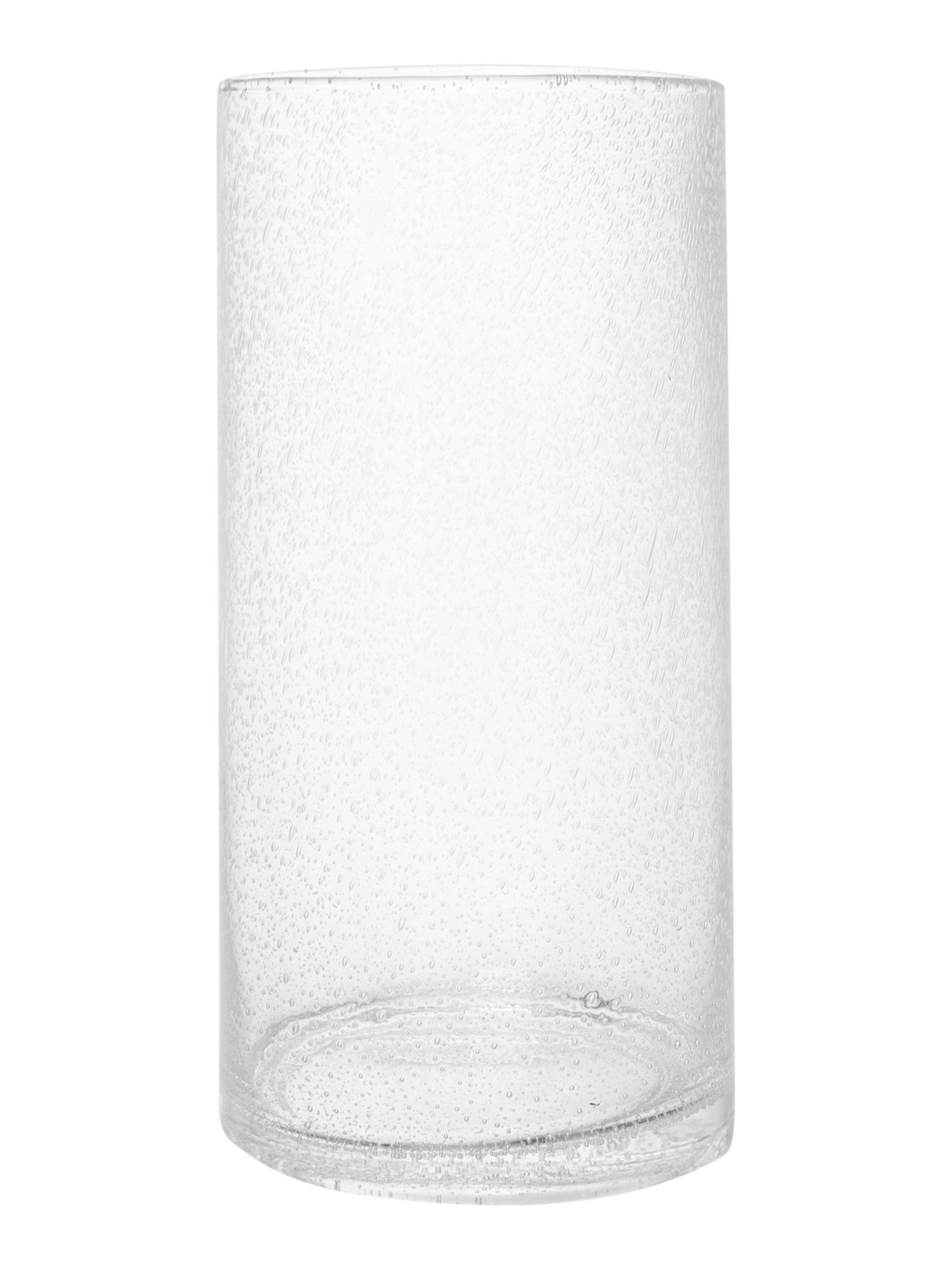 Clear bubble cyclinder vase, large