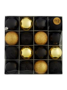 Pack of 16 gold and black shatterproof baubles