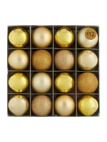 Pack of 16 gold shatterproof baubles