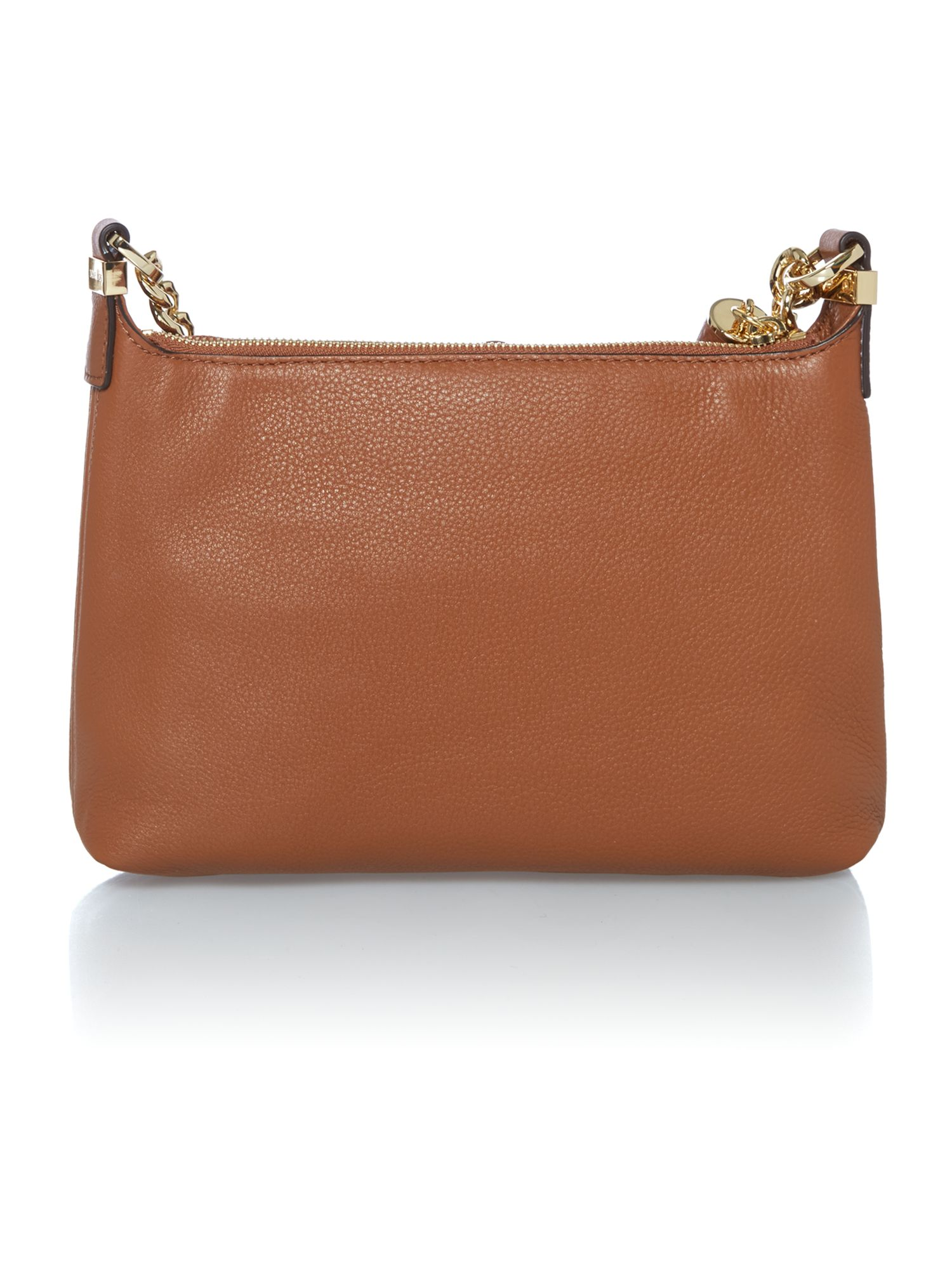 Weston tan zip top cross body bag