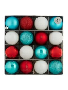 Set of 16 multicoloured shatterproof baubles