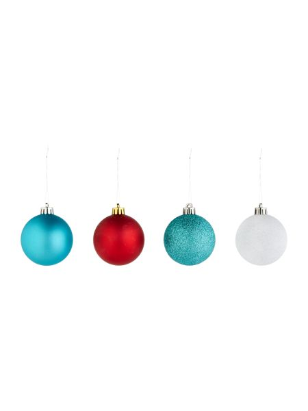 Linea Set of 16 multicoloured shatterproof baubles