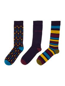 Spot and stripe 3 pack sock
