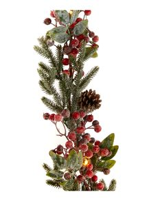 Frosted Red Berry Pre-Lit Garland