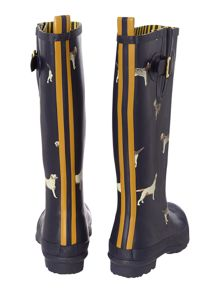 Navy dogs printed welly