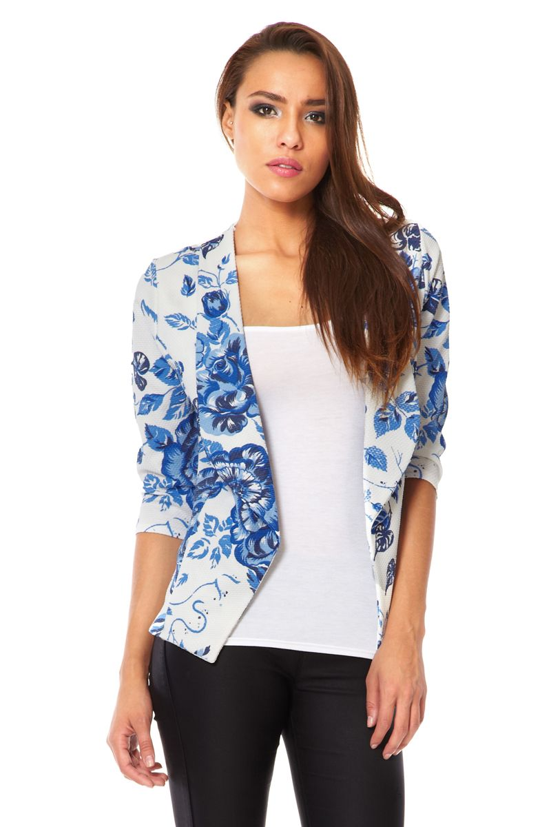 Textured flower print blazer
