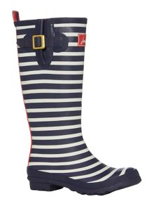 Navy stripe printed welly