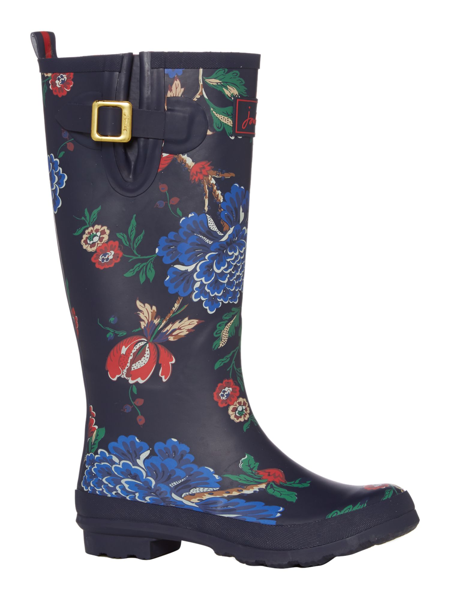 Navy floral printed welly