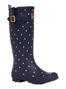 Navy spot printed welly