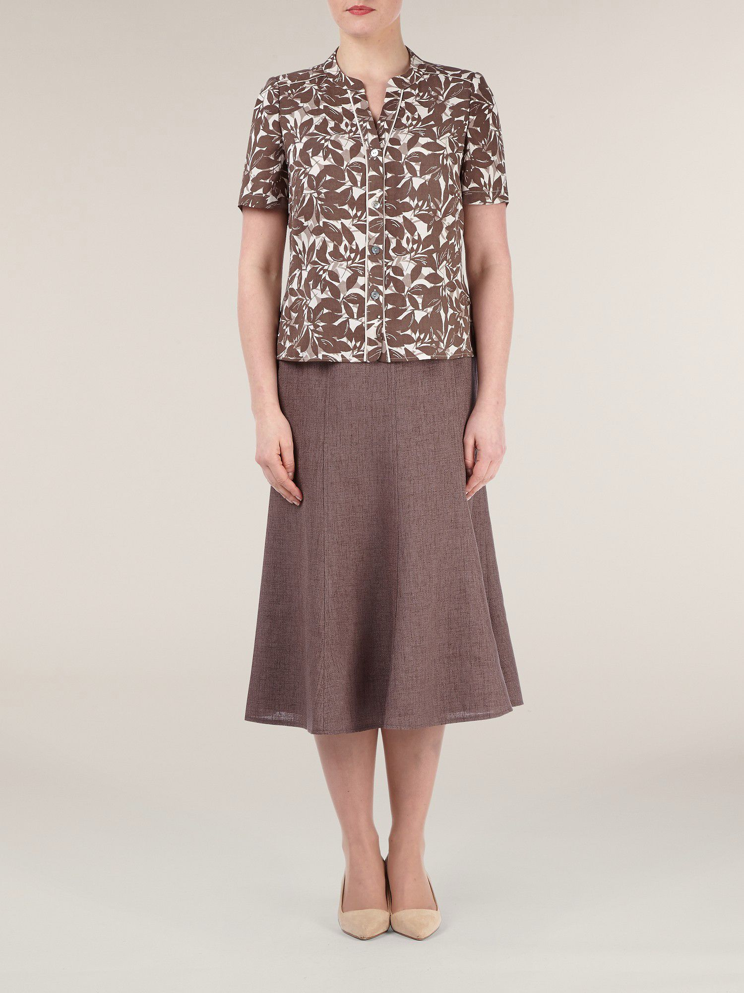 Basket weave fit & flare skirt