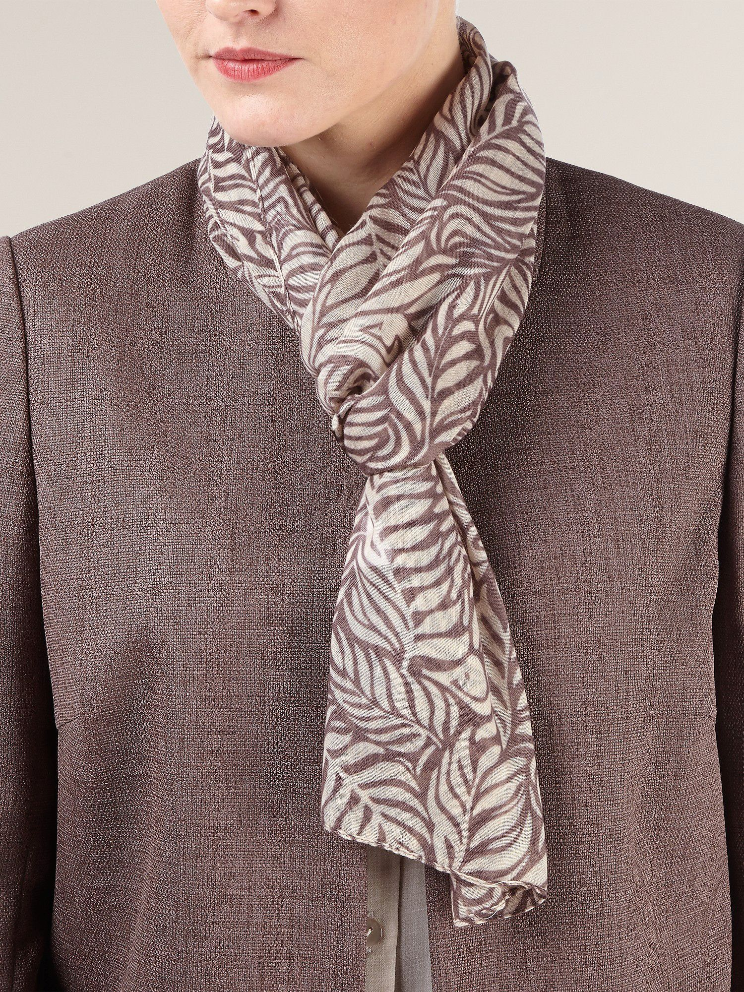 Ornate leaves printed scarf