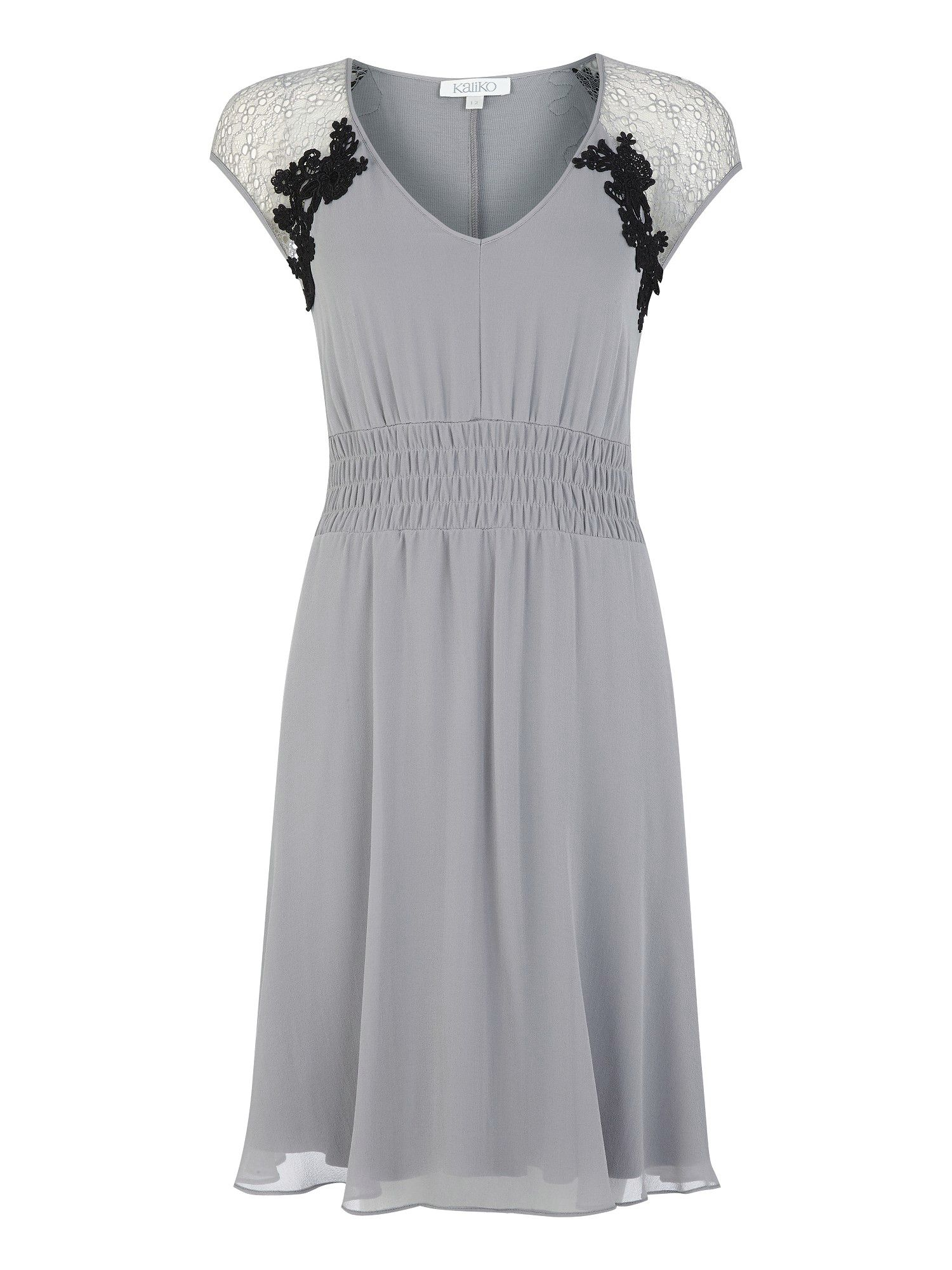 Kaliko Silk lace and ruched dress, Grey